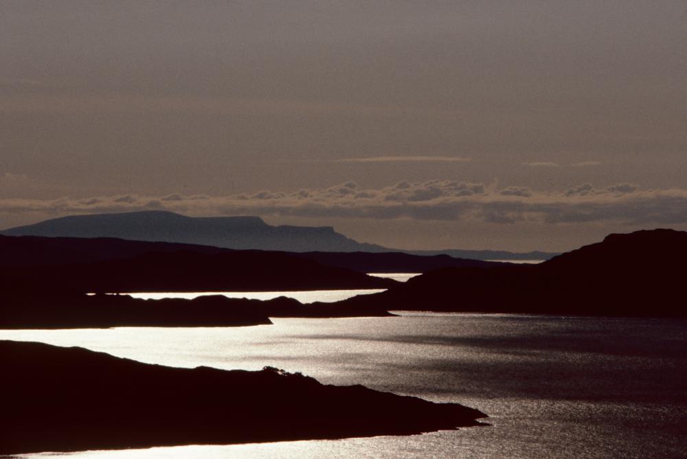 Großbritannien, Schottland, Loch Torridon bei Sonnenuntergang (1987)