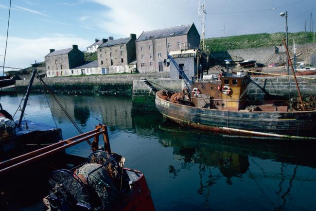 Großbritannien, Schottland, Burghead, Hafen mit Fischerbooten (1987)