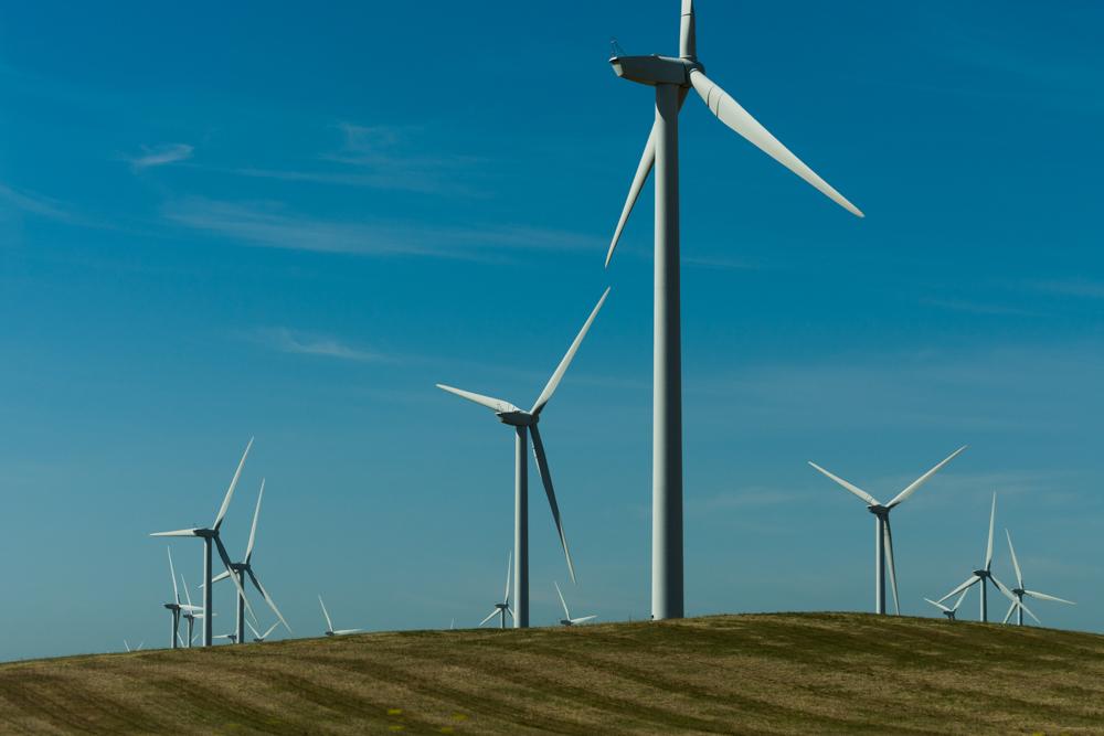 USA, Kalifornien, Valley, Windkraftanlagen bei Rio Vista (2016)