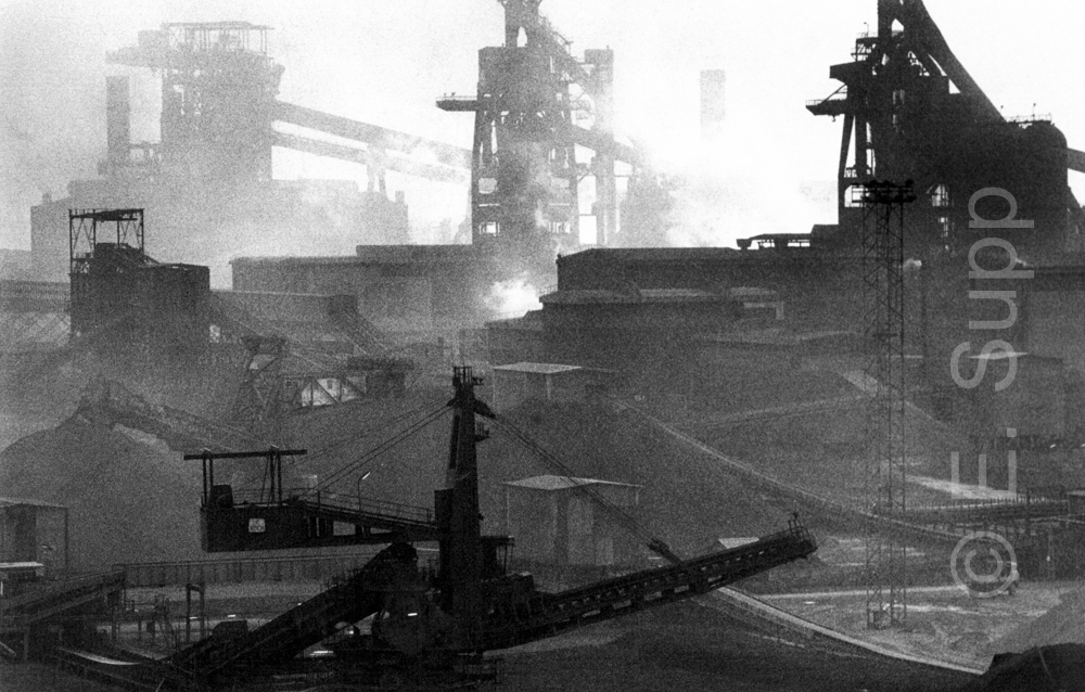 Frankreich, Dunquerque, Stahlhütte Usinor (1979) / France, Dunquerque, Usinor steelworks (1979)