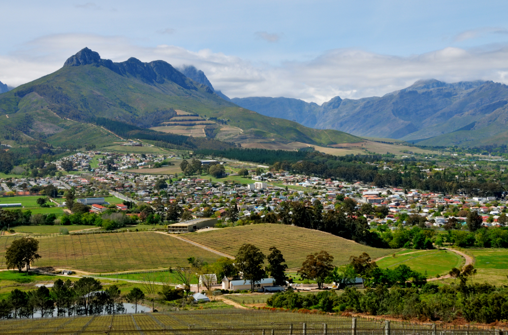 Südafrika, Stellenbosch, Glenelly Winery, Blick auf Stellenbosch & Stellenbosch Mountains (2012)
