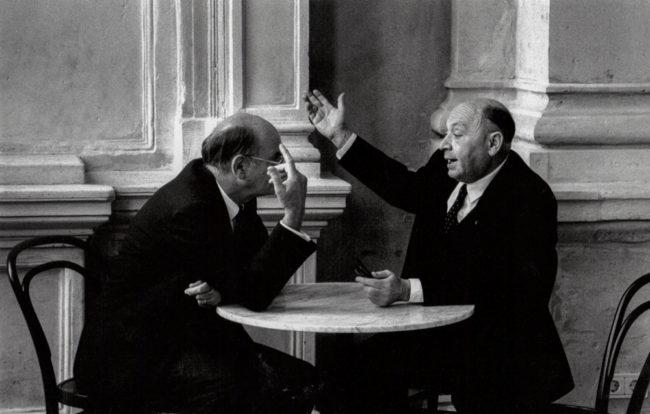Deutschland, Frankfurt, Diskussion auf der Terrasse der Alten Oper (1981)