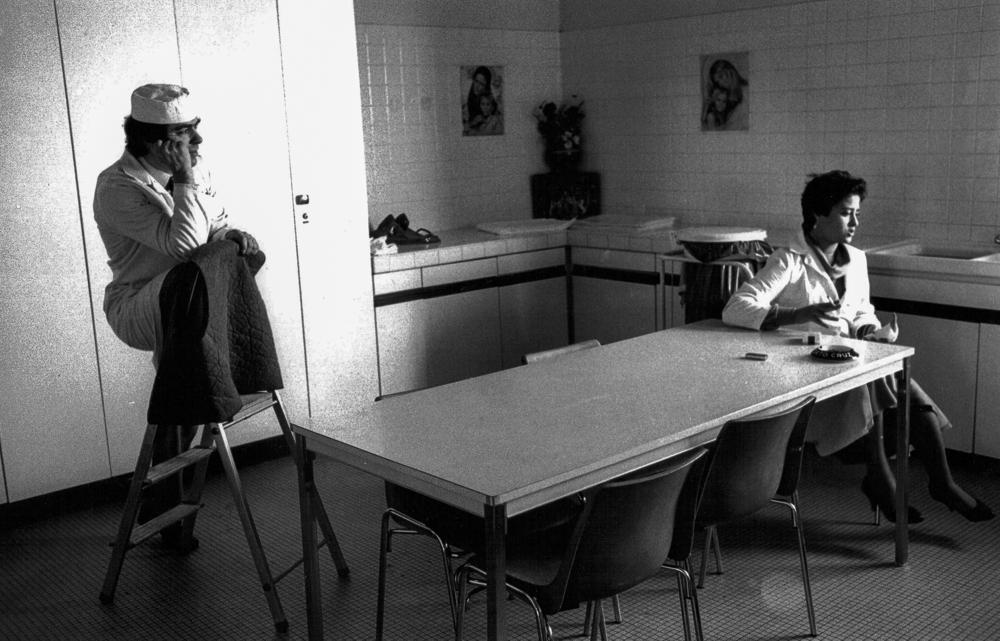 Frankreich, Paris, Langeweile in der Firmenküche, Flughafen Roissy (1980)