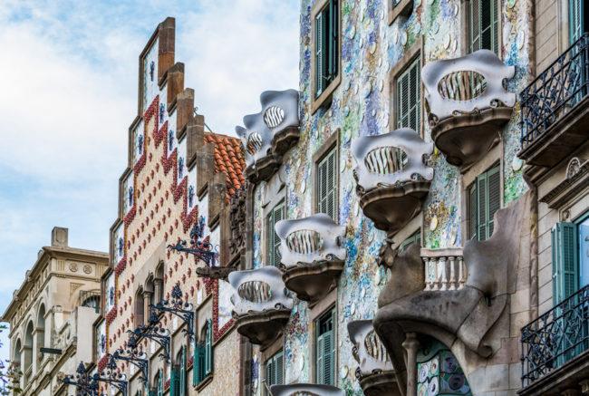 Spanien, Katalonien, Barcelona, Modernisme-Architektur, Passeig de Gracia, Casa Battlò (Gaudì), Casa Amattler (Puig i Cadafalch) - (2017)